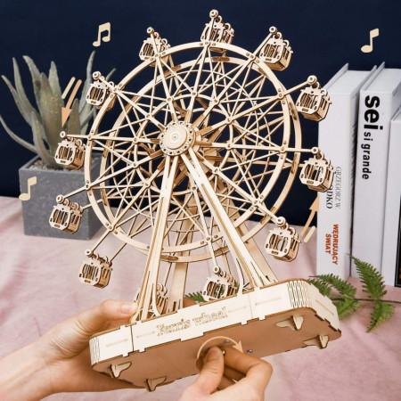 Puzzle 3D din lemn cutie muzicala Ferris Wheel cutie muzicala