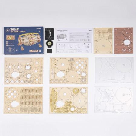 Puzzle 3D lemn Calendar si ceas de birou continut