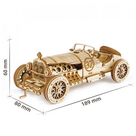 Puzzle 3D lemn Masina de curse grand prix dimensiuni