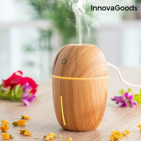umidificator si difuzor de aromaterapie lemn natural LED galben