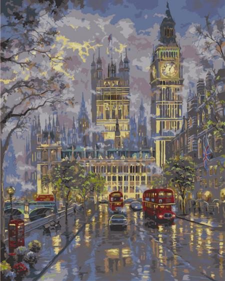 Pictura pe numere cu autobuz rosu si Big Ben in Londra