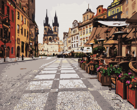 Pictura pe numere cu catedrala din centrul orasului Praga
