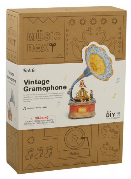 puzzle 3d din lemn gramofon colorat cutie muzicala 4
