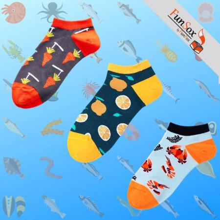 Set 3 perechi sosete colorate barbati morcovi lamai fructe de mare