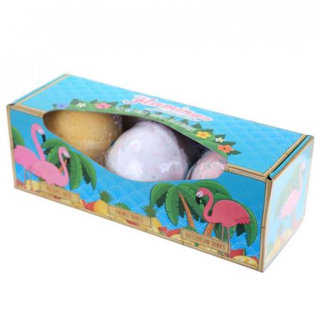 Set cadou 3 bile efervescente pentru baie XXL Tropical in cutie