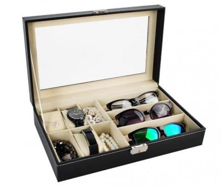 cutie cu ceasuri si ochelari de soare