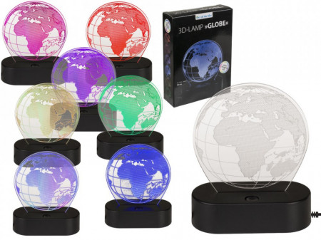 Lampa 3D glob pamantesc multicolora