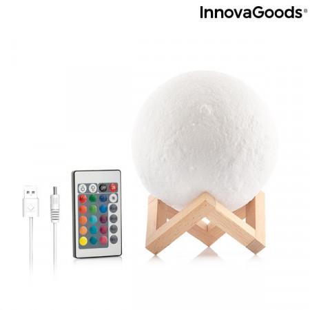 lampa led in forma de luna cu suport din lemn 5