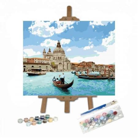 pictura pe numere cu gondola pe canalele din Venetia pe sevalet
