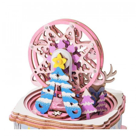 Puzzle 3D din lemn cutie muzicala Merry Christmas brad
