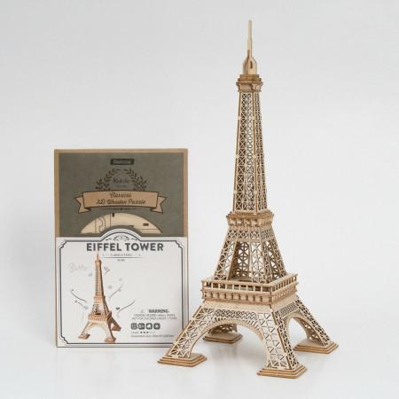 Puzzle 3D din lemn Turnul Eiffel si cutie