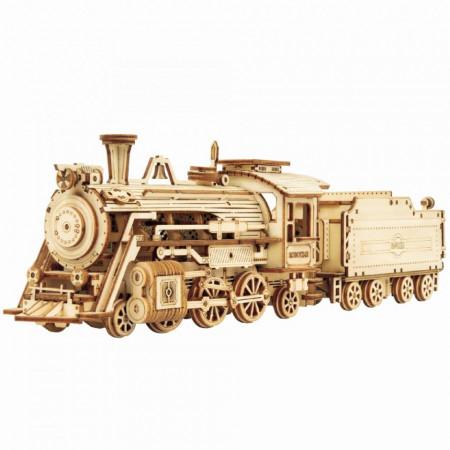 Puzzle 3D lemn Locomotiva cu aburi