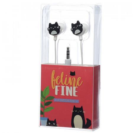 Casti cu pisica neagra in cutie