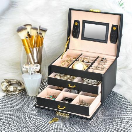 Cutie neagra cu bijuterii cu doua sertare si cheita