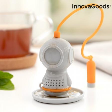 infuzor de ceai scafandru gri cu tub de oxigen 3
