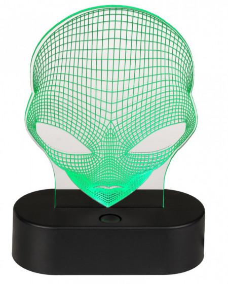 Lampa 3D Alien verde