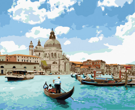 pictura pe numere cu gondola pe canalele din Venetia