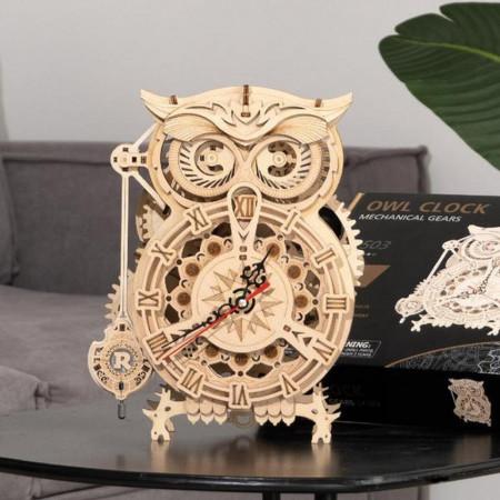 puzzle 3d din lemn ceas bufnita 3