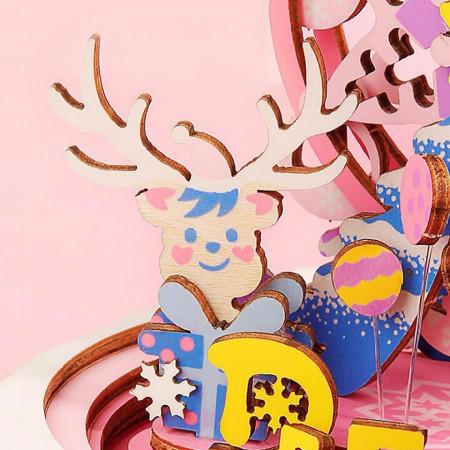 Ren Puzzle 3D din lemn cutie muzicala Merry Christmas