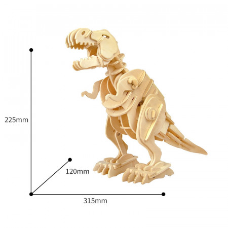 puzzle 3d din lemn dinozaur t-rex controlat prin sunet dimensiuni