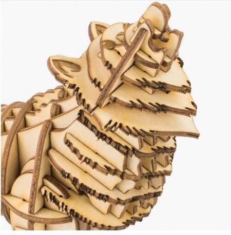 Puzzle 3D din lemn Lup detaliu
