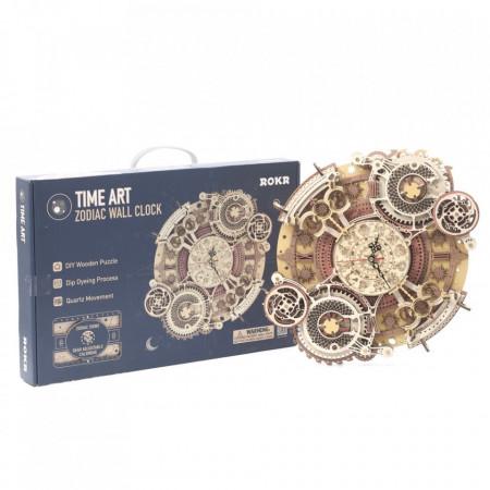 Puzzle 3D lemn Ceas cu calendar Zodiac si cutie