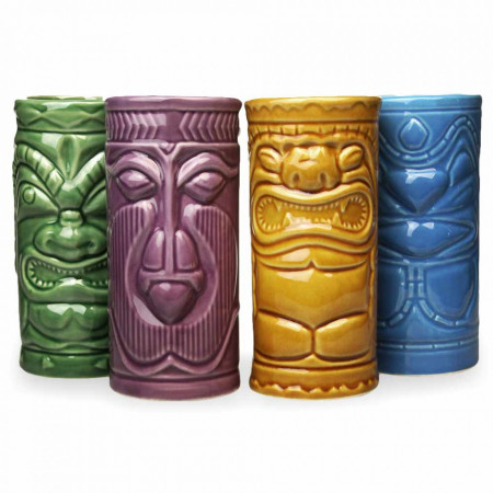 Set 4 pahare colorate Tiki