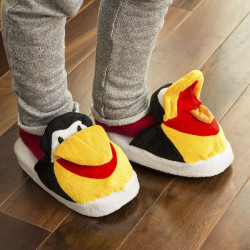Papuci pufosi pentru copii Pinguin