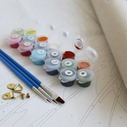 Vopsea si pensule si agatatoare pentru pictura pe numere