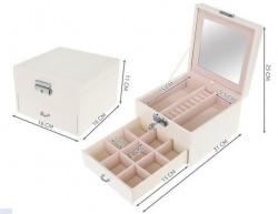 dimensiuni cutie bej bijuterii cu sertar si cheita
