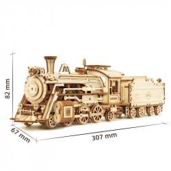 Puzzle 3D lemn Locomotiva cu aburi dimensiuni