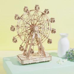 Puzzle 3D din lemn cutie muzicala Ferris Wheel pe masa