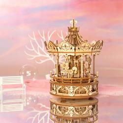 Puzzle 3D lemn Cutie muzicala Carusel artistic