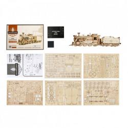 Puzzle 3D lemn Locomotiva cu aburi continut cutie