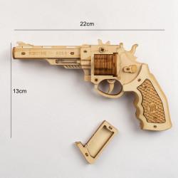 Puzzle 3D lemn Pistol dimensiuni
