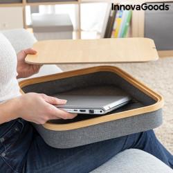 Masuta din lemn pentru laptop cu spatiu de depozitare