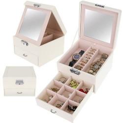 Cutie bej pentru bijuterii cu sertar si cheita