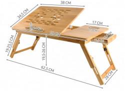 Masuta laptop reglabila cu sertar si orificii pentru ventilare dimensiuni
