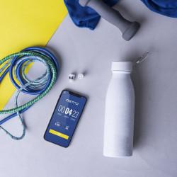 Set sticla termo alba si casti wireless in capac 2