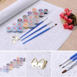 set de pensule albastre si vopsea si agatatoare pentru picturi pe numere