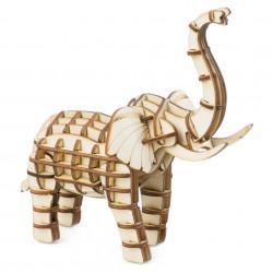 Puzzle 3D din lemn Elefant cu trompa ridicata