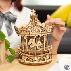Puzzle 3D lemn Cutie muzicala Carusel dimensiuni