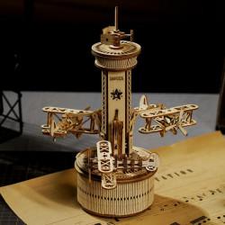 Puzzle 3D lemn Turn de control cu 3 avioane
