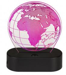 Lampa 3D glob pamantesc roz