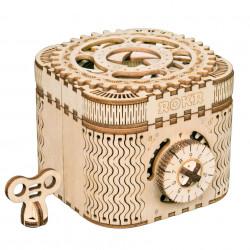 puzzle 3d din lemn cutie comori inchisa