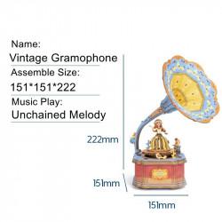 puzzle 3d din lemn gramofon colorat cutie muzicala dimensiuni