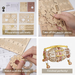 Puzzle 3D lemn Calendar si ceas de birou detalii