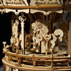 Puzzle 3D lemn Cutie muzicala Carusel detaliu