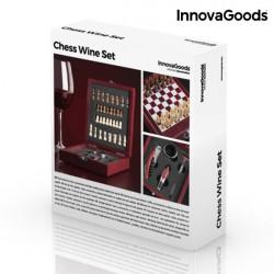 set sah din lemn si accesorii pentru vin in cutie