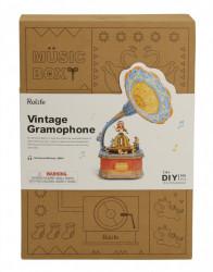puzzle 3d din lemn gramofon colorat cutie muzicala 3